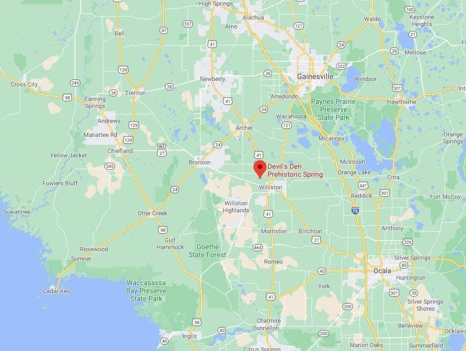 Devil's Den Florida Map