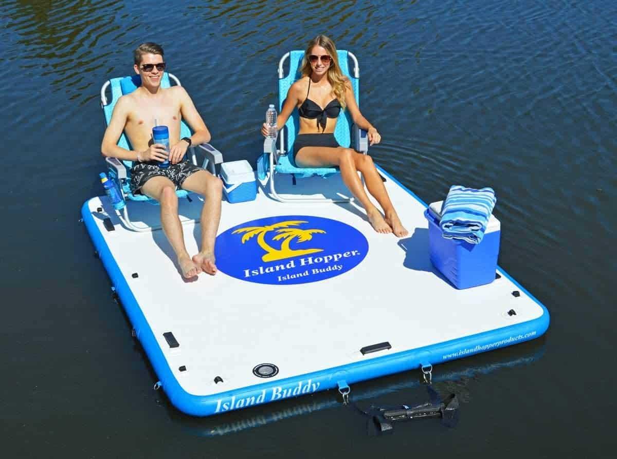 Island Hopper Island Buddy 8 Foot Inflatable Swimming Water Platform