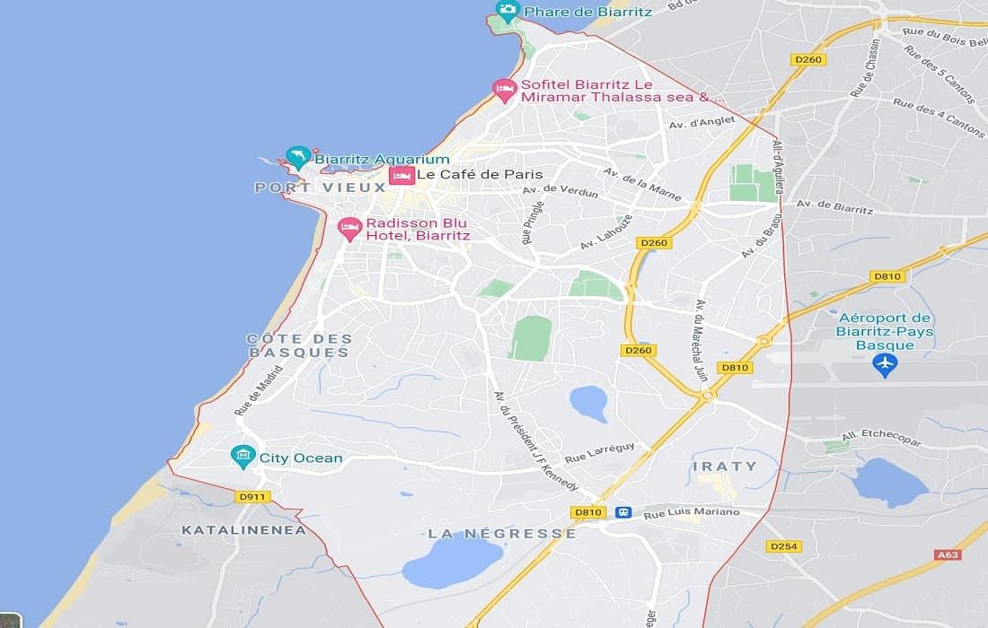 Map of Biarritz